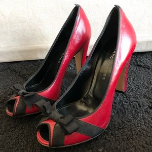 MARC JACOBS Black and Red Open Toe Heel Pumps